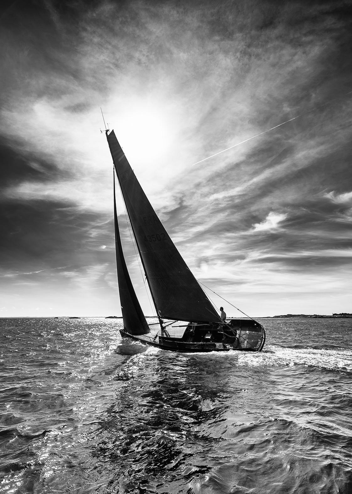 Photographie bateau en noir et blanc