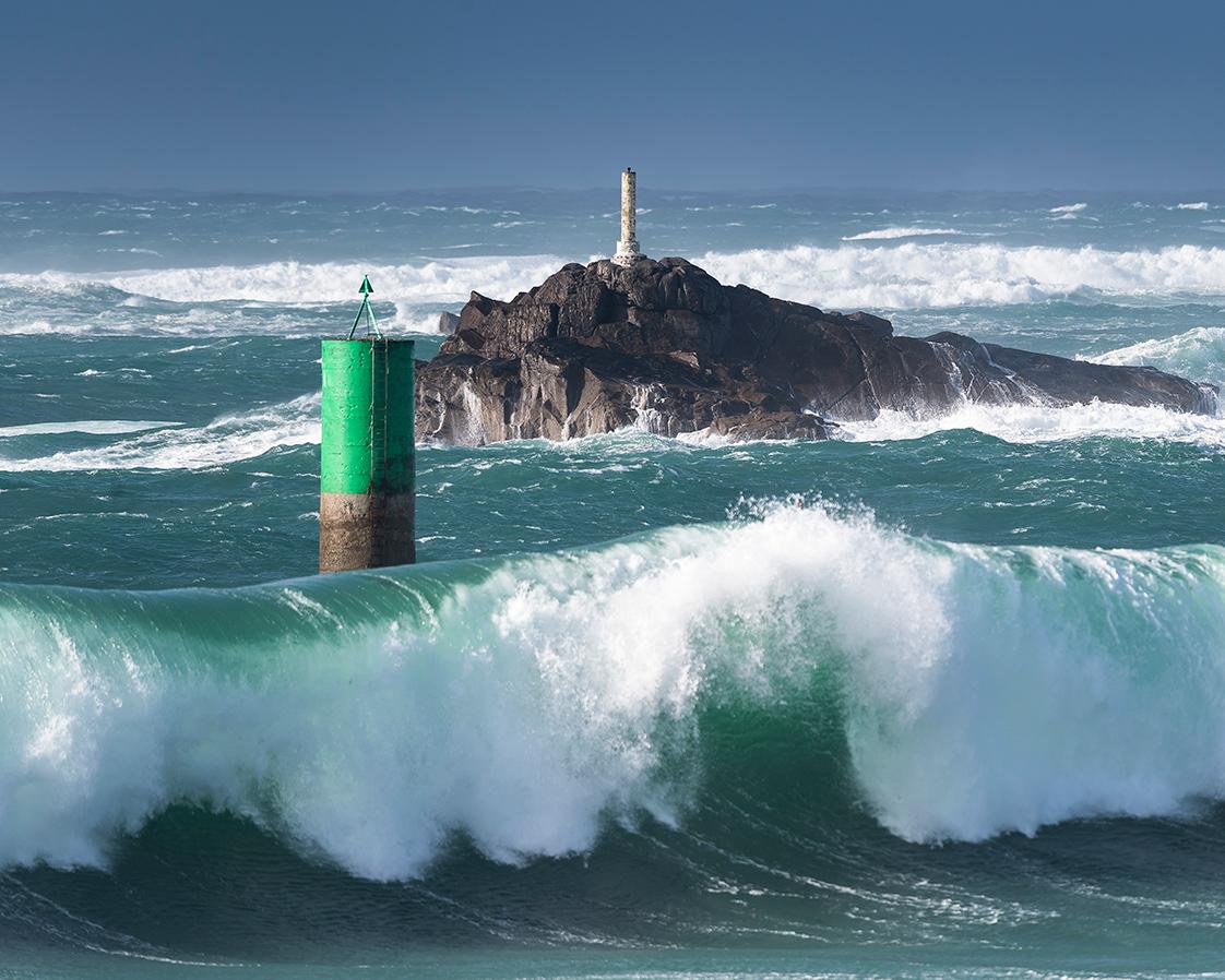 Photographie d'une tempête à la pointe Finistère